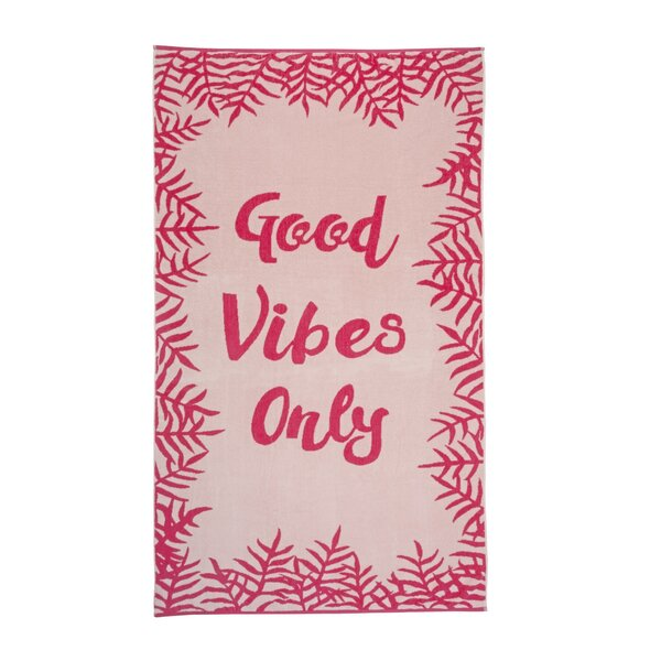 COSMOliving Good Vibes Only 100% Cotton Beach Towel by CosmoLiving by Cosmopolitan